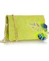 Matthew Williamson Daisy Embellished Suede Clutch - Green