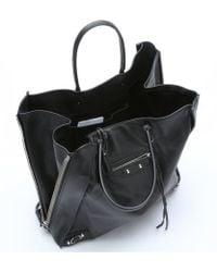 Balenciaga Black Leather 'Papier Ledger' Shopper Tote - Lyst