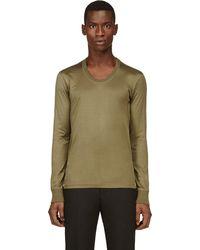 Calvin Klein Khaki Serged Seams T-Shirt - Lyst