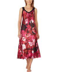 Oscar de la Renta Floral Print Long Charmeuse Nightgown - Lyst