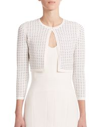 Narciso Rodriguez Cropped Jacquard Cardigan - Lyst