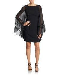 ML Monique Lhuillier Crepe Cape-Sleeve Dress - Lyst