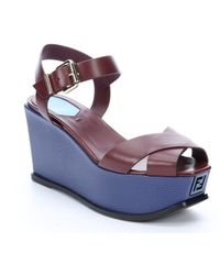 Fendi Burgundy And Blue Leather Colorblock Platform Wedge Sandals - Lyst