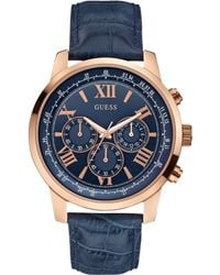 Guess Mens Chronograph Blue Croc-embossed Leather Strap Watch 45mm - Lyst