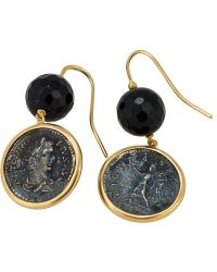1884 Collection - 1884 - 'nuvole' 18k Yellow Gold And Sterling Silver Earrings W/1 Med Pius Coin And Faceted Black Agate Bead - Lyst