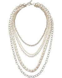 Slane - Freshwater Pearl  Chain Layered Necklace - Lyst