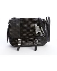 Jimmy Choo Black Mixed Leather Perforated Quilted Small Becka Biker Bag - Lyst