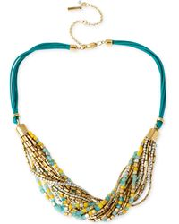 Kenneth Cole New York Gold-Tone Mixed Multicolored Bead Multi-Row Necklace - Lyst
