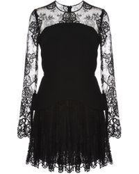 Elie Saab | Crepe Cady And Lace Peplum Dress | Lyst