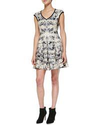Nanette Lepore Love Crime Solidtrim Floral Dress - Lyst