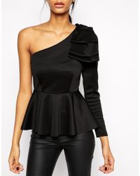 Asos Peplum Top With One Shoulder - Lyst