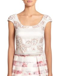 Kay Unger Striped Floral Sequin Cropped Top - Lyst