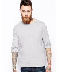 Asos Long Sleeve T-Shirt With Roll Sleeve And Tab - Lyst