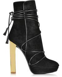 Emilio Pucci   Black Suede Platform Boots   Lyst