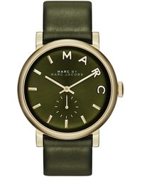 Marc By Marc Jacobs Baker Analog Watch with Leather Strap Goldenolive - Lyst