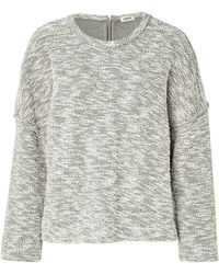 L'Agence Cotton Blend Marled Knit Pullover - Lyst