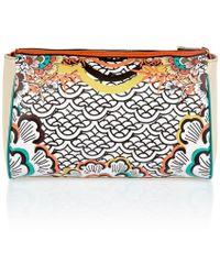 River Island | Orange Retro Floral Print Weekend Bag Orange Print Wheelie Suitcase Orange Print Wash Bag Orange Print Vanity Case | Lyst