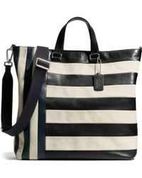 Coach Bleecker Day Tote in Mixed Bar Stripe Leather - Lyst