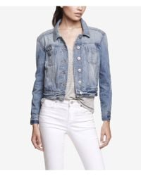 Express Light Wash Shrunken Denim Jacket - Lyst