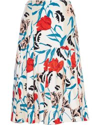 Thakoon Floral-Print Seamed Crepe Skirt multicolor - Lyst