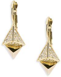ABS By Allen Schwartz - Pyramid Drop Earrings - Goldtone - Lyst