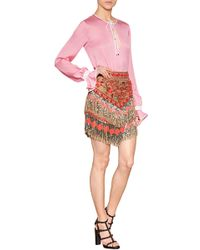 Emilio Pucci Suede Embellished Fringed Skirt - Lyst