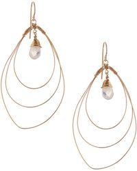 Rafia - 3-hoop Teardrop Earrings W/ Moonstone Center - Lyst