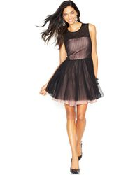 Betsey Johnson Sleeveless Polka-dot Illusion Dress - Lyst