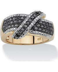 Palmbeach Jewelry - 1/10 Tcw Round Black And White Diamond 18k Gold Over Sterling Silver Crossover Ring - Lyst