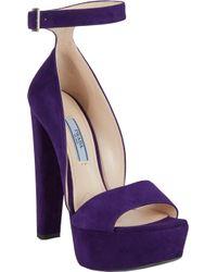 Prada Suede Anklestrap Platform Sandals - Lyst