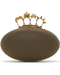 Alexander McQueen Black Leather Knuckle Clutch - Lyst