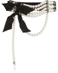 Lanvin Faux Pearl and Crystal Choker - Lyst