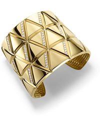 Marina B - 18k Yellow Gold Triangoli Diamond Cuff Bracelet - Lyst