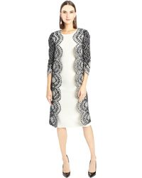 Oscar de la Renta Laser-Cut Speckled Tweed Coat - Lyst