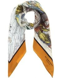 Burberry Prorsum Raining Cats Dogs and Pitchforks Printed Silk Scarf - Lyst