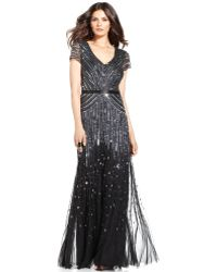 Adrianna Papell Cap-Sleeve Beaded Sequined Gown - Lyst
