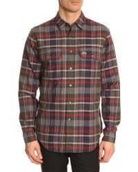 Lacoste Khaki Checked Flannel Shirt - Lyst