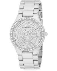 Saks Fifth Avenue White Stone Silvertone Link Bracelet Watch - Metallic