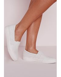 Missguided Croc Slip On Skater Pumps White