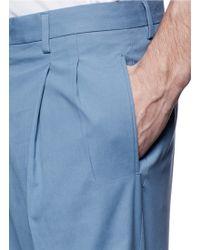 Dolce & Gabbana Front Pleat Cotton Shorts - Blue