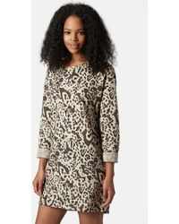 Topshop Animal Print Shift Dress - Lyst