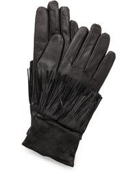 Club Monaco Kimmy Fringe Gloves - Black - Lyst