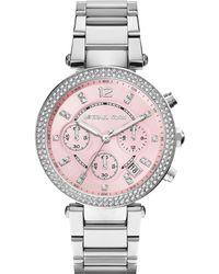 Michael Kors Women'S Chronograph Parker Stainless Steel Bracelet Watch 39Mm Mk6105 - A Macy'S Exclusive - Lyst