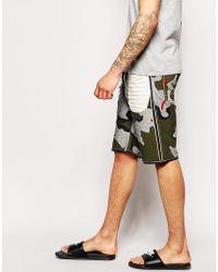Evisu Denim Shorts 2020 Straight Fit Reversed Camo Print - Green