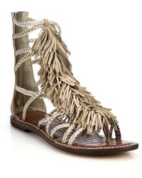 Sam Edelman Gisela Fringed Metallic Leather Gladiator Sandals - Lyst