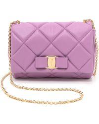Ferragamo Miss Vara Quilted Mini Bag - Lila - Lyst