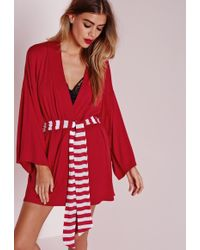 Missguided Santa's Bitch Dressing Gown Red