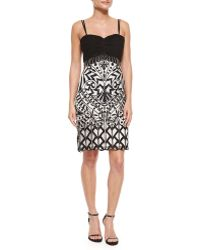 Sue Wong Embroidered Sheath Dress black - Lyst