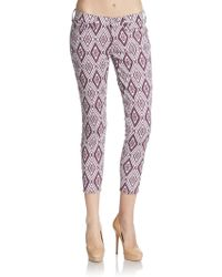 7 For All Mankind Diamond-Print Cropped Jeans - Lyst