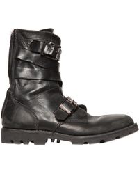 Diesel Buckled Textured Leather Boots black - Lyst